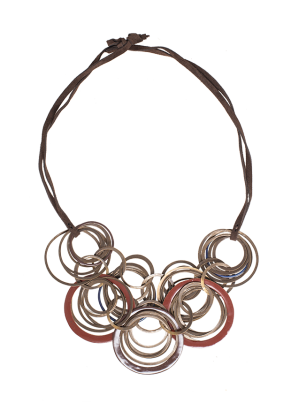 Cobc 08, Bronze Necklace with Resin and Bronze Rings
