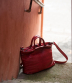 Boes 469, Rose Madder Leather Briefcase with Top Twin Handles and Shoulder Strap | Majo