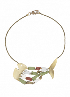 Coto 02,bronze necklace with pantographed fish element
